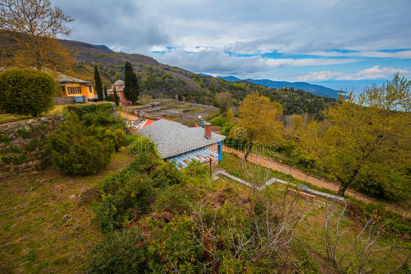 Monasterio de Philotheou en el monte Athos fotos de archivo