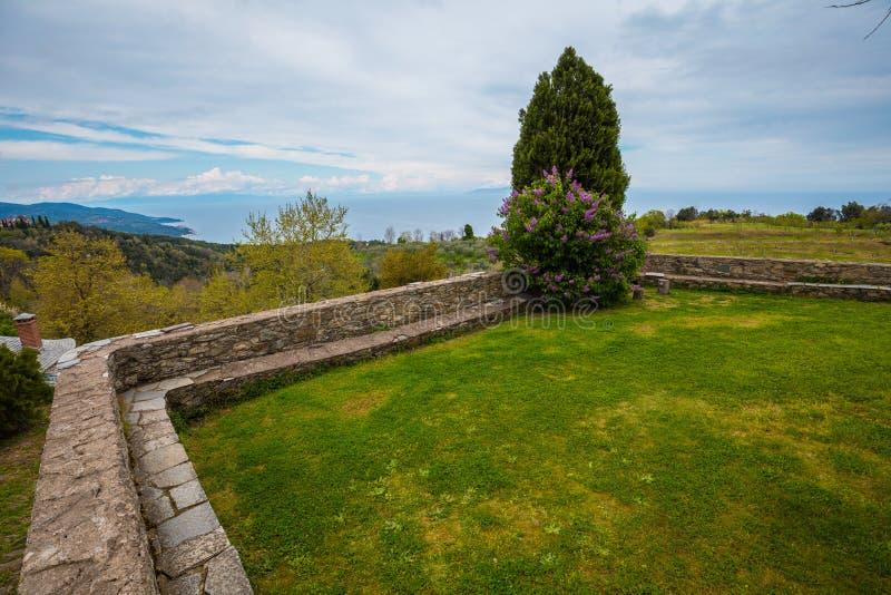 Monasterio de Philotheou en el monte Athos foto de archivo