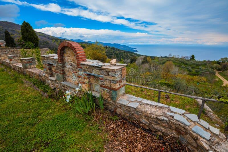 Monasterio de Philotheou en el monte Athos foto de archivo libre de regalías