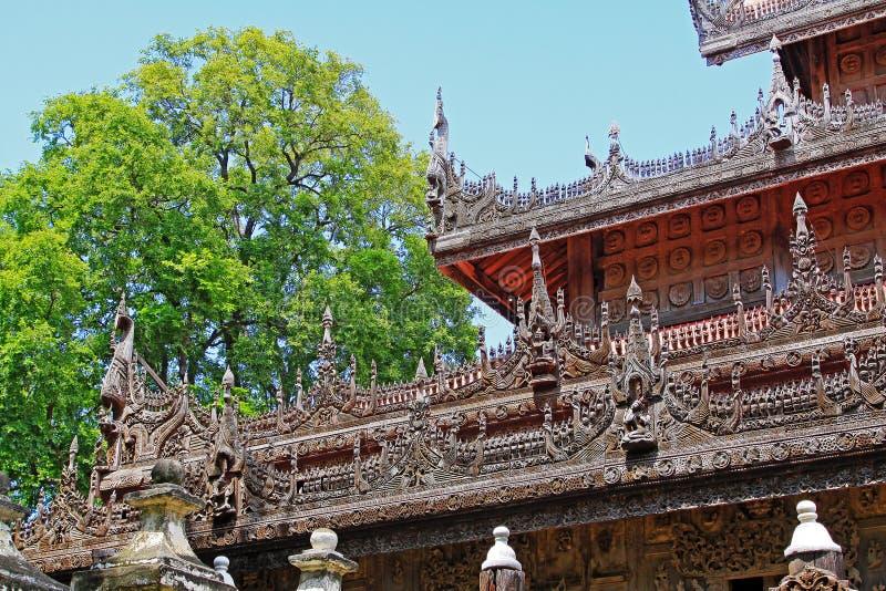 Monasterio de Shwenandaw, Mandalay, Myanmar imagen de archivo libre de regalías