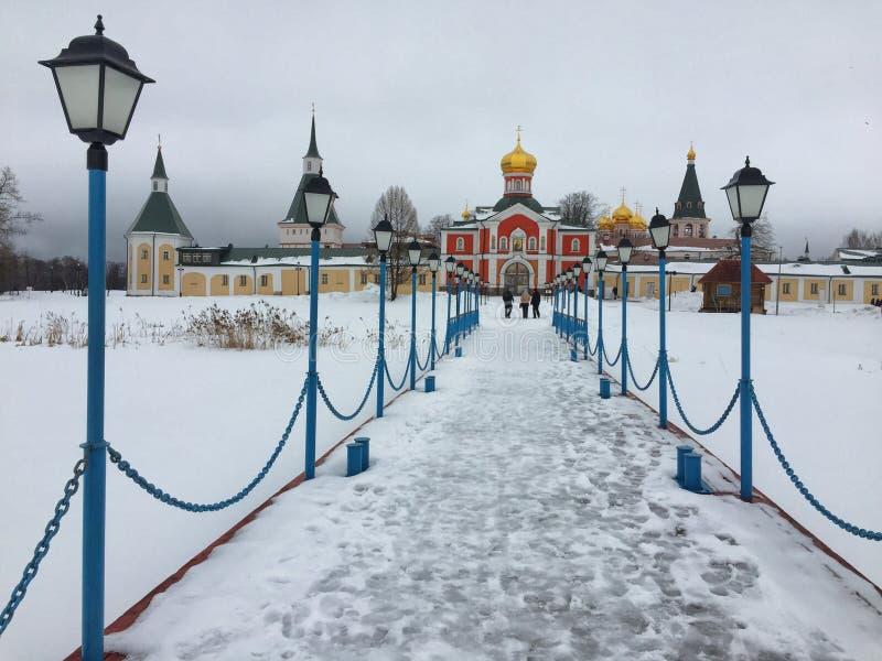 Monasterio de Valday-Iverskiy en invierno imagen de archivo libre de regalías