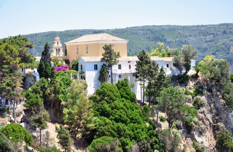Monasterio en la isla de Corfú, Grecia fotografía de archivo libre de regalías