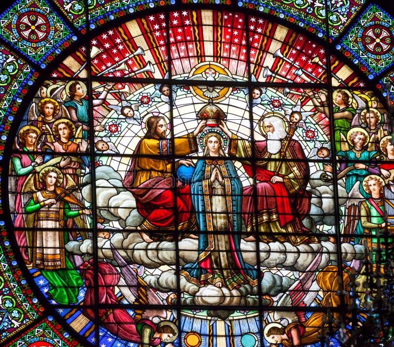 Monasterio Montserrat de la ventana de Jesús Maria Rose del vitral foto de archivo libre de regalías