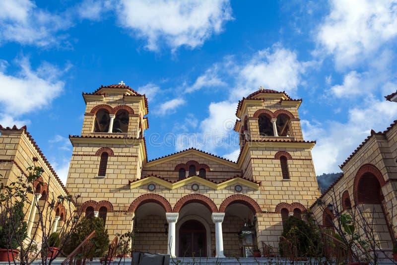 Monasterio ortodoxo cristiano de la Virgen María en Malevi, Peloponeso, Grecia imágenes de archivo libres de regalías
