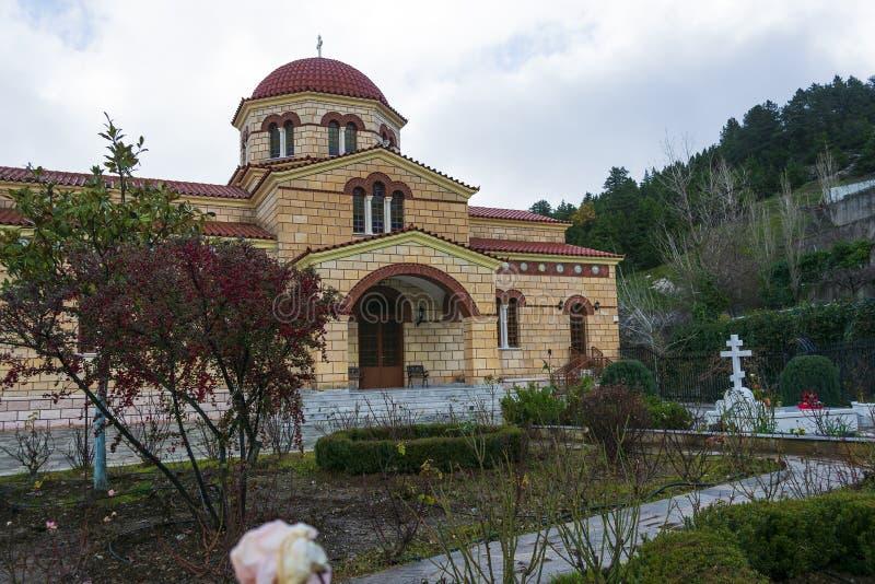 Monasterio ortodoxo cristiano de la Virgen María en Malevi, Peloponeso, Grecia fotografía de archivo