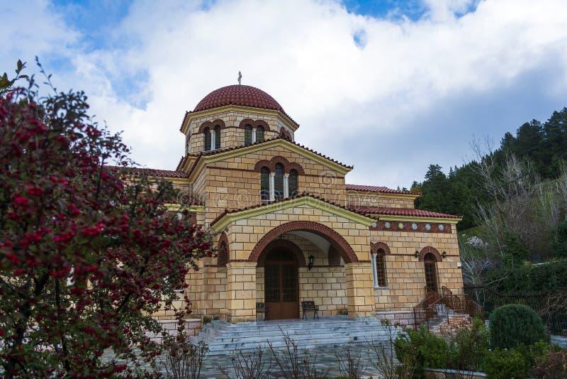 Monasterio ortodoxo cristiano de la Virgen María en Malevi, Peloponeso, Grecia fotos de archivo