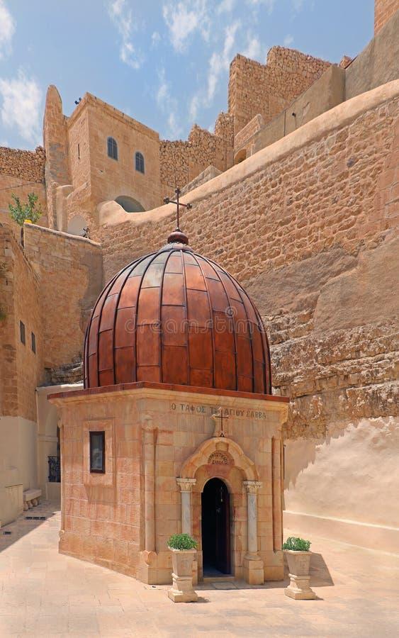 Monasterio ortodoxo griego marcha Saba imagenes de archivo