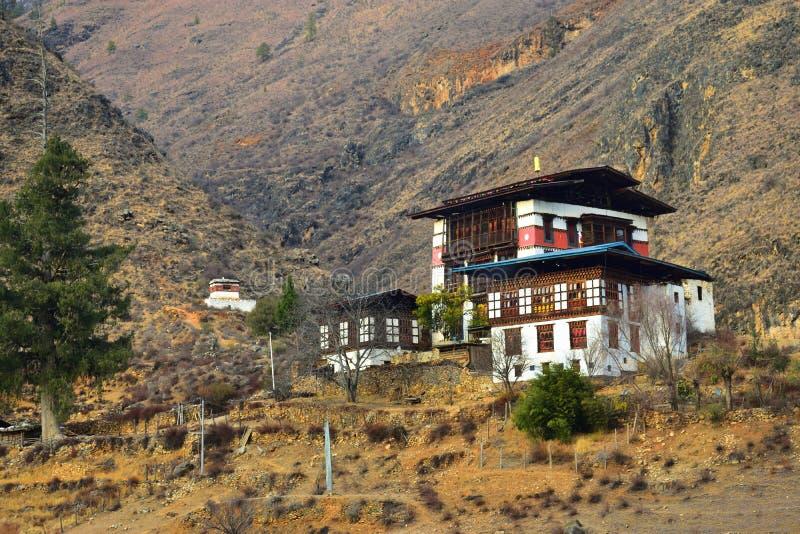 Monastero buddista di Paro Dzong nel regno del Bhutan immagine stock libera da diritti