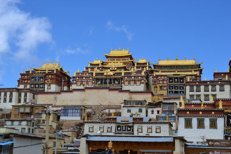 Monastero buddista tibetano di Songzanlin, La di Shangri, Xianggelila, provincia di Yunnan, Cina fotografia stock libera da diritti