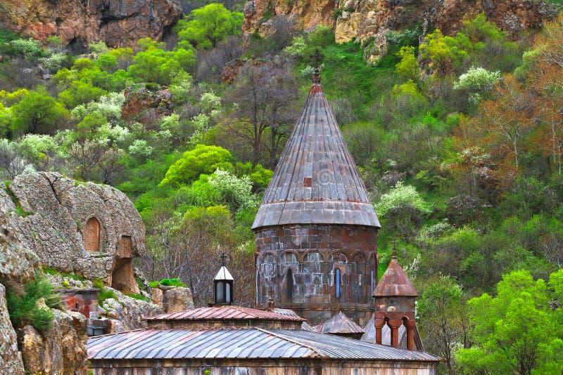 Monastero cristiano Armenia del tempio GEGHARD immagini stock