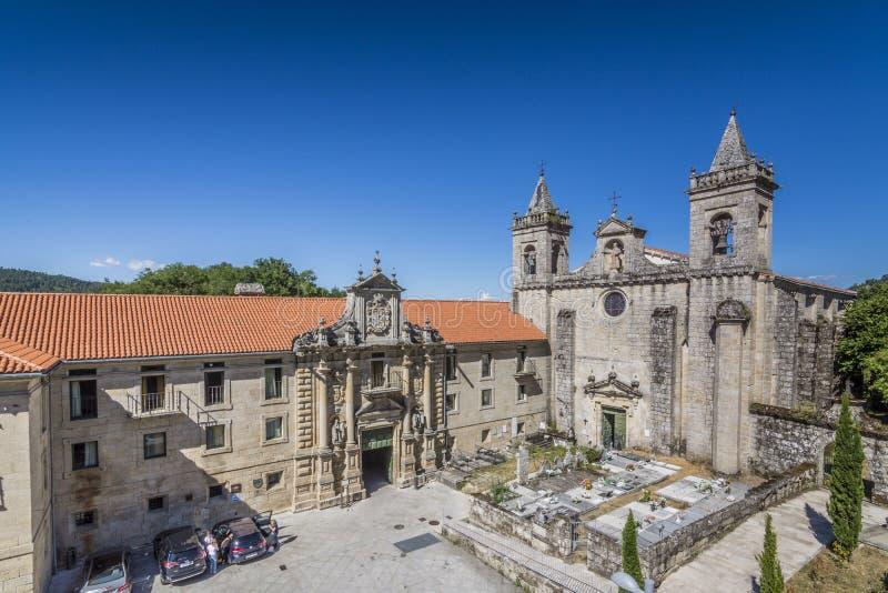 Monastero del san Esteban de Ribas de Sil Fiume Sil Orense, GA fotografia stock
