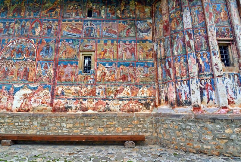 Monastero di Gura Humorului del dettaglio dell'affresco fotografie stock