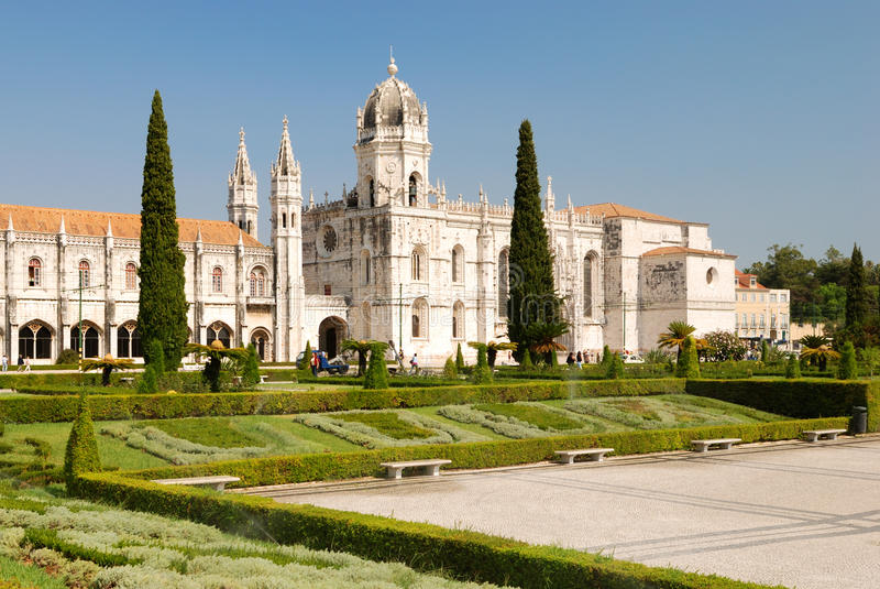 Monastero di Jeronimos a Lisbona immagine stock
