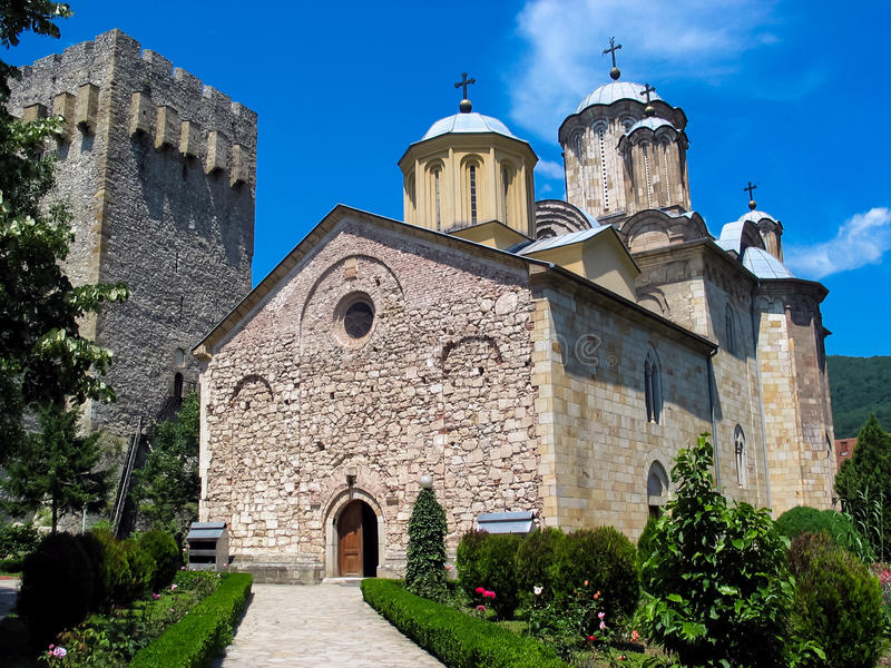 Monastero di Manasija in Serbia immagine stock libera da diritti