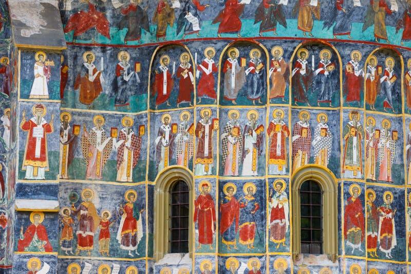 Monastero di Sucevita, uno dei monasteri dipinti famosi in Romania, eredità dell'Unesco, Romania immagine stock libera da diritti