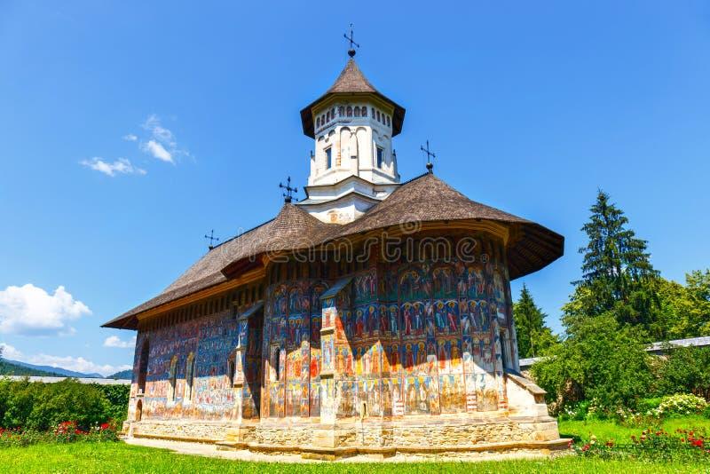 Monastero di Sucevita, uno dei monasteri dipinti famosi in Romania, la Romania fotografia stock libera da diritti
