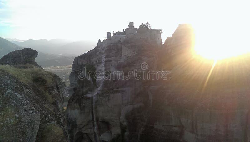 Monastero di Varlaam al tramonto immagine stock libera da diritti
