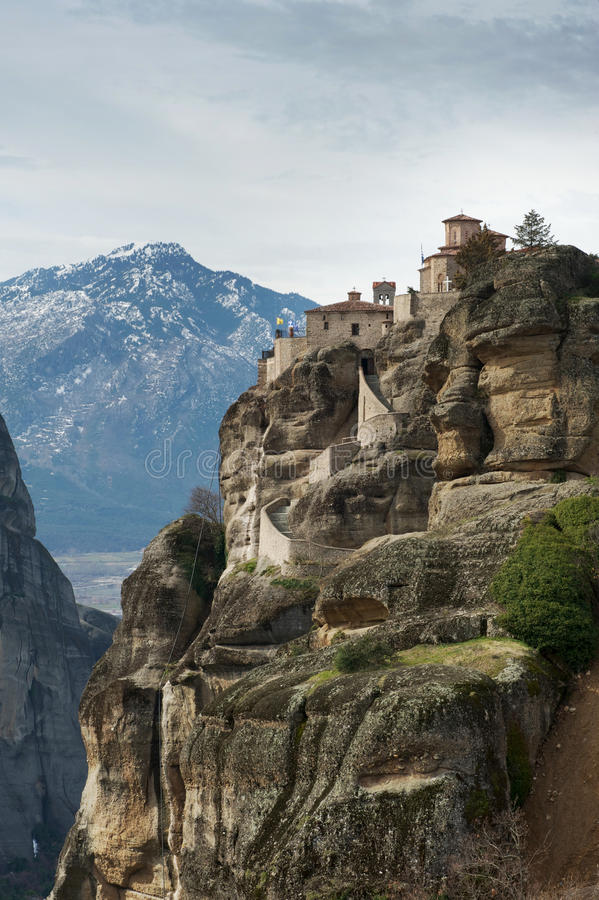 Monastero di Varlaam del san in inverno, Meteora, Grecia fotografie stock