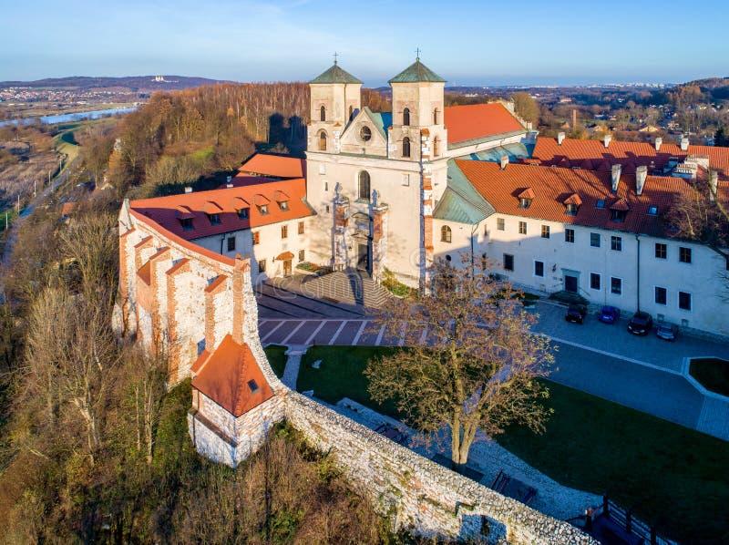 Monastero e chiesa del benedettino in Tyniec vicino a Cracovia, Polonia fotografia stock libera da diritti