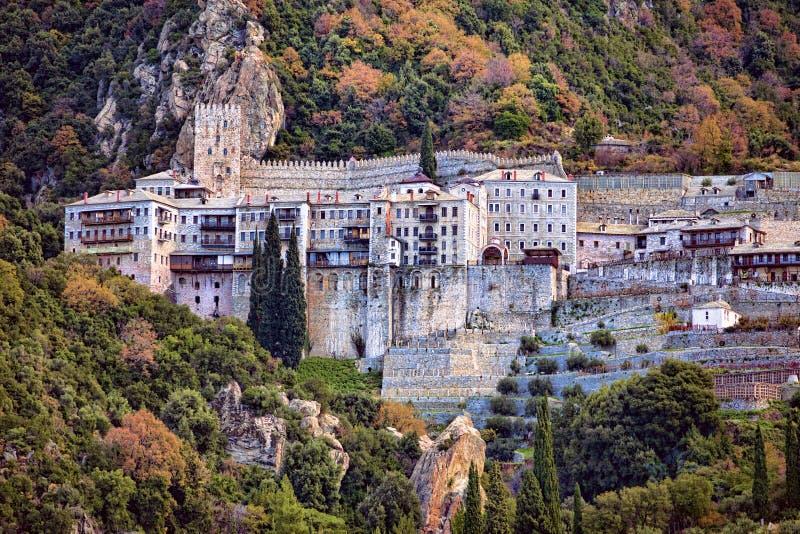 Monastero ortodosso di Agiou Pavlou al Mt Athos fotografia stock