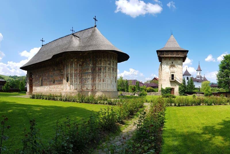Monastero ortodosso di umore in Romania fotografia stock