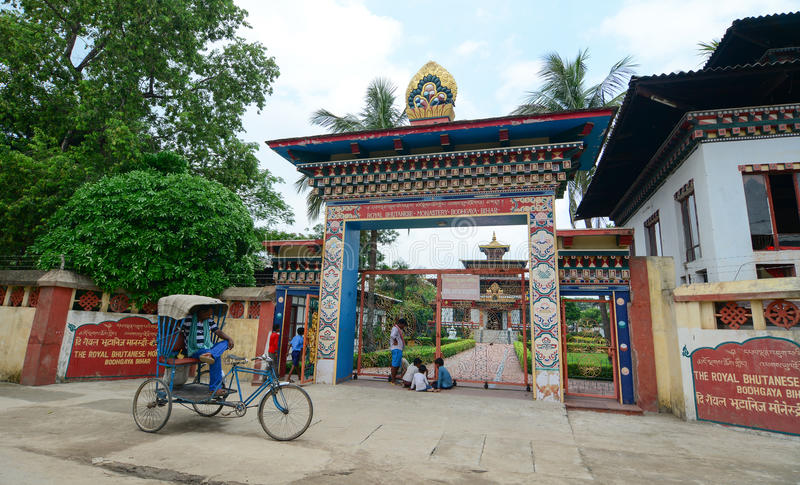 Monastero reale del Bhutanese in Bodhgaya, India fotografia stock
