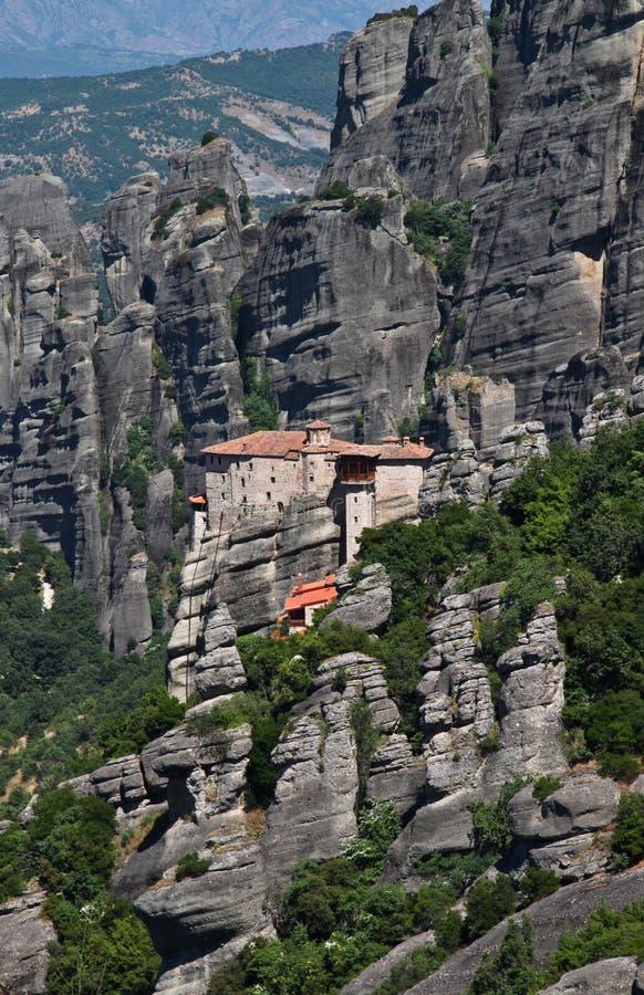 Monastero santo di Rousanou, Meteora, Grecia fotografie stock libere da diritti