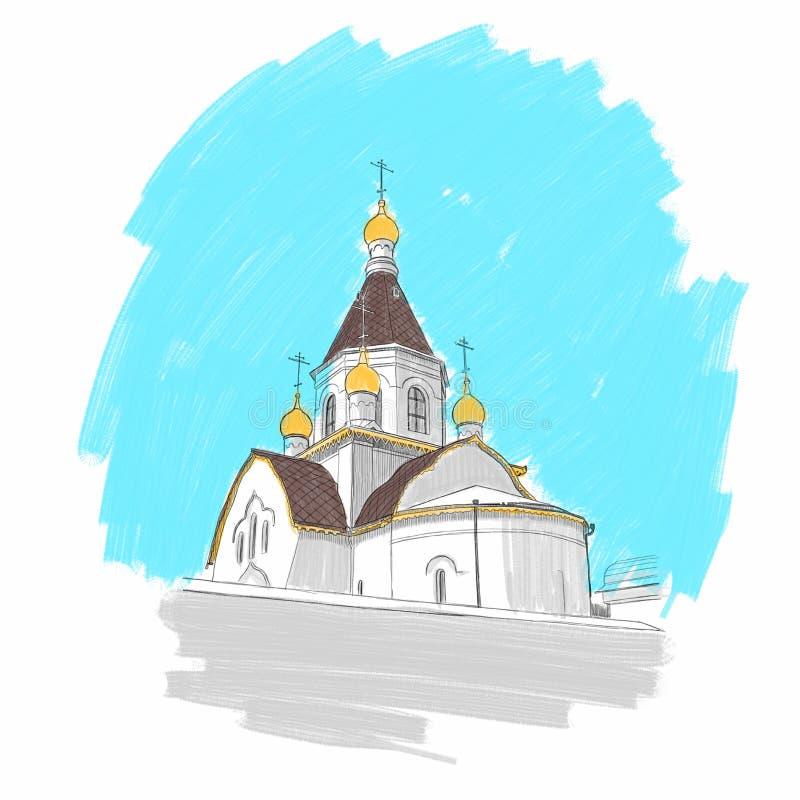 Monastero sulle banche del fiume in Krasnojarsk, illustrazione illustrazione vettoriale
