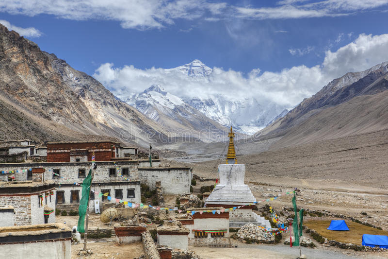 monasteru rongbuk Tibet zdjęcie royalty free