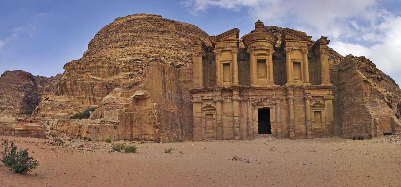 Monastery Ad-Deir in Petra, Jordan. stock photography