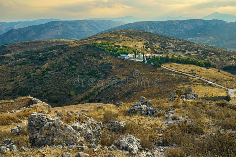 Monastery Agion Anargiron above Argos. Monastery Agion Anargiron above city of Argos, taken from the hill where the old Venetian Larissa fortress stands royalty free stock photography