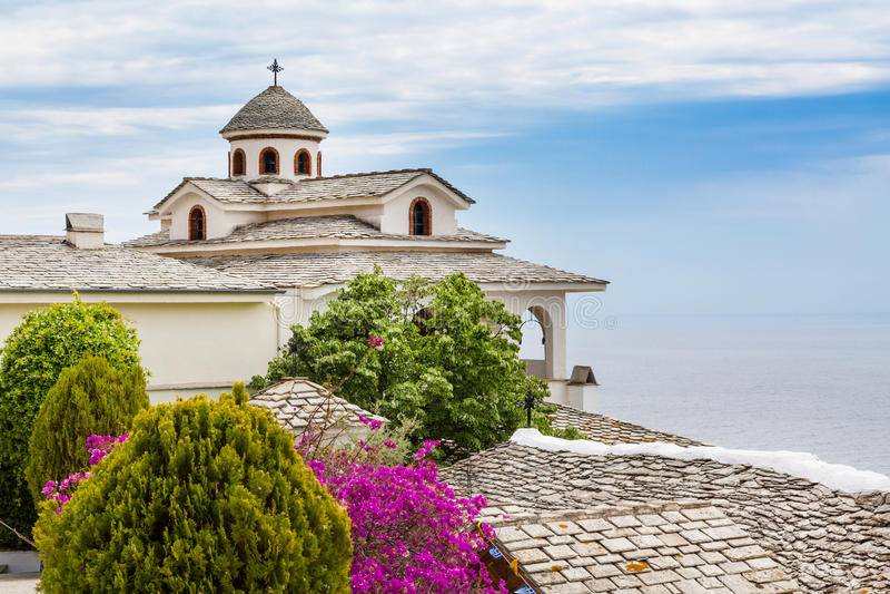 Monastery of Archangel Michael, Thassos island, Greece. View of Monastery of Archangel Michael, Thassos island, Greece stock photos