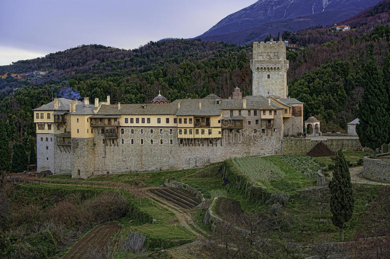 Monastery at Athos Mountain royalty free stock photo