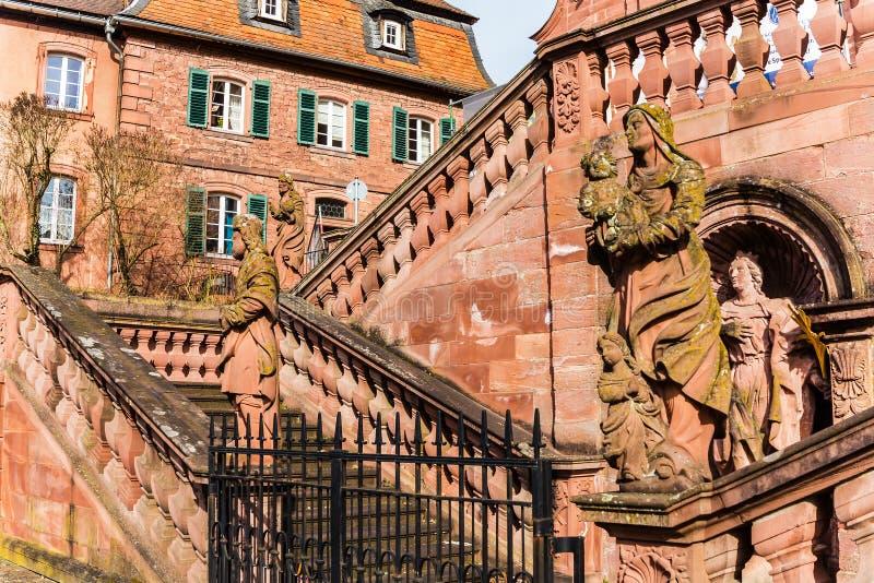 The monastery in baroque city Amorbach, Bavaria, Germany royalty free stock photo