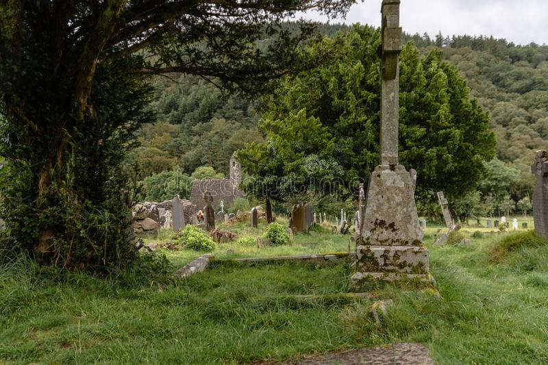 Monastery cemetery of Glendalough, Ireland. Famous ancient monastery in the wicklow mountains stock images