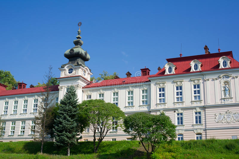 Monastery and chapel of Saint Elisabeth, Cieszyn, Poland,. Monastery and chapel of Saint Elisabeth, Cieszyn, Silesia, Poland, Central Europe - building made in stock photography