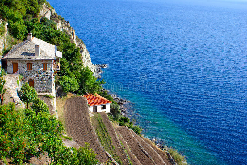 Monastery Dionisiou on Mount Atho. S, Chalkidiki, Greece stock photos