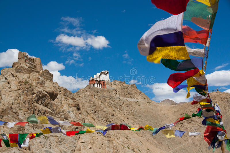 Monastery with flags stock images