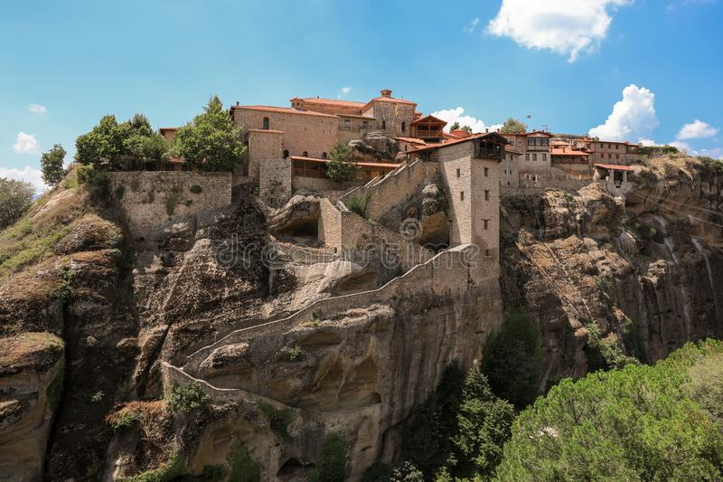 The Monastery of Great Meteoron is the largest monastery at Meteora Eastern Orthodox monasteries complex in Greece. stock photography