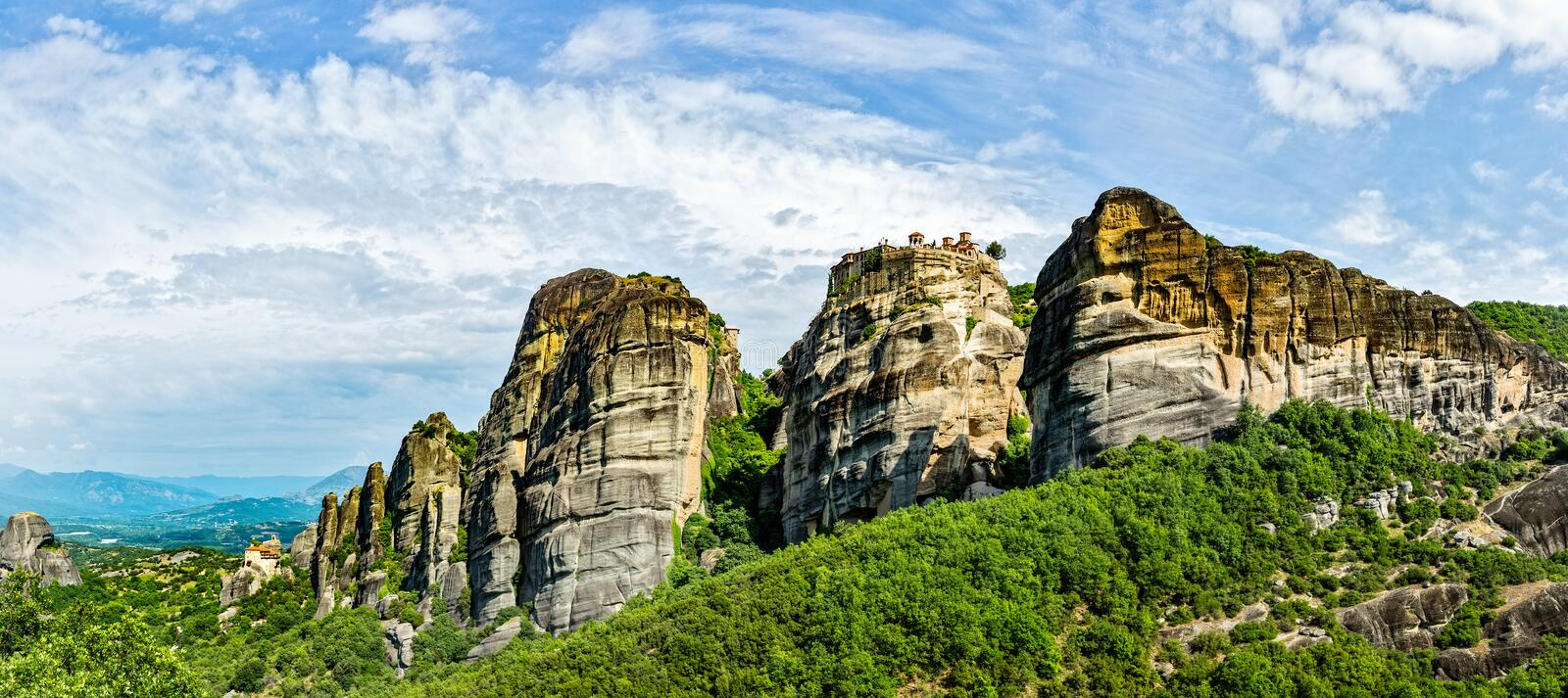 The Monastery of Great Meteoron. Monasteries on the top of rock in summer day royalty free stock image