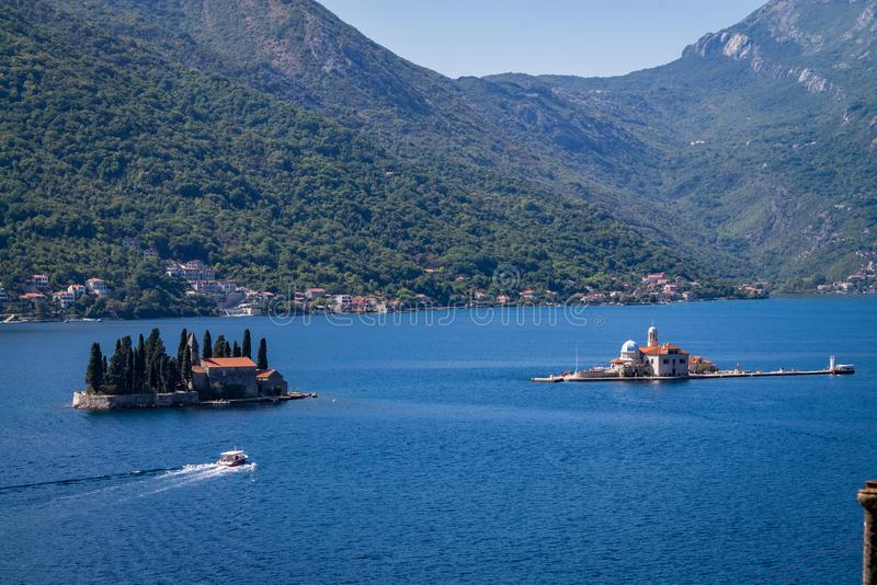 Monastery on the island in Perast, Montenegro royalty free stock image