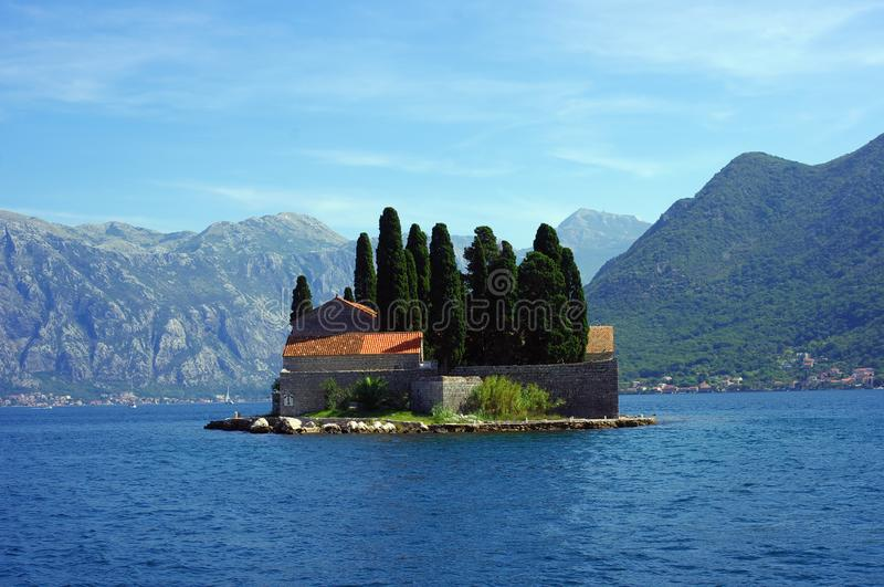 Monastery on island of St. George near Perast city royalty free stock photography