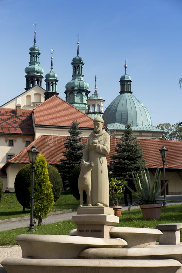 Monastery of Kalwaria Zebrzydowska, and the UNESCO world heritage site in Lesser Poland. Statue of Saint Francis stock photos