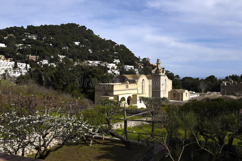 Monastery of La Certosa on the isle of Capri in the Bay of Naples. Capri is an Italian island off the Sorrentine Peninsula, on the south side of the Gulf of royalty free stock photo