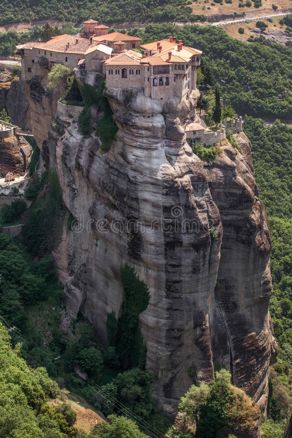 Monastery from Meteora-Greece, beautiful landscape with tall rocks with buildings on them. royalty free stock photography
