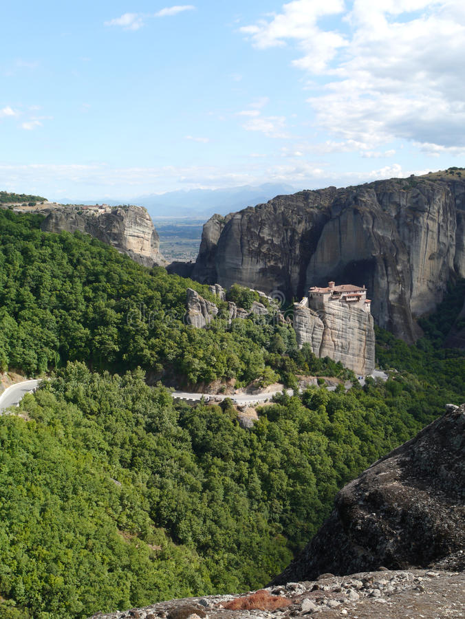 Monastery at Meteora Northern Greece. Rock formations and monastery at Meteora in Northern Greece royalty free stock photography