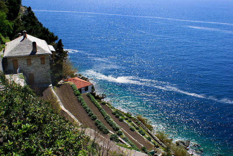 Monastery on Mount Athos. Greek Orthodox Monastery Dionisiou on Mount Athos, Greece stock image