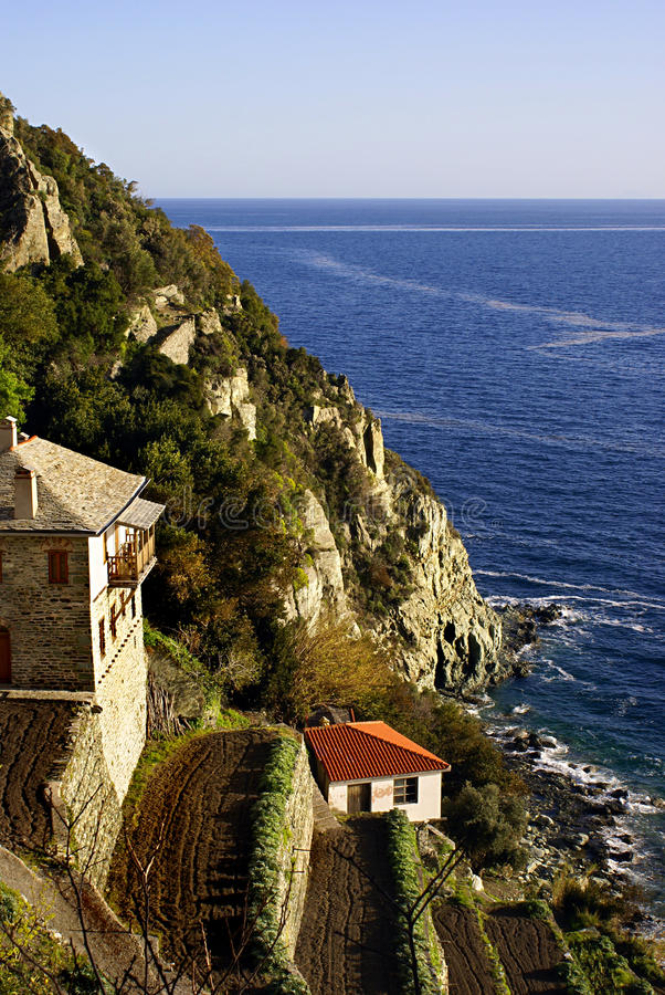 Monastery on Mount Athos. Greek Orthodox Monastery Dionisiou on Mount Athos, Greece royalty free stock image