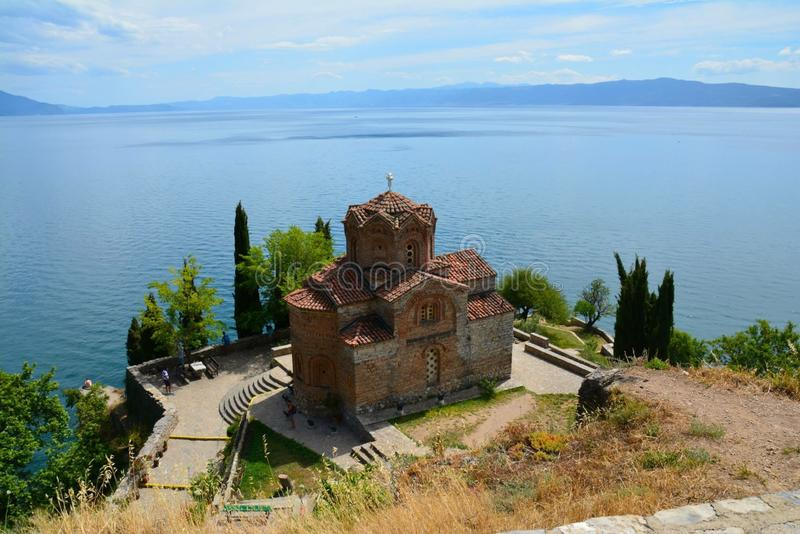 Monastery Ohrid Lake. A beautiful Monastery on the shores of Ohrid Lake in Macedonia in te stock images