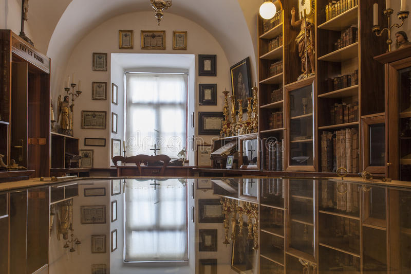 Monastery old book library. Old book library in sveta Trojica in Slovenia royalty free stock images